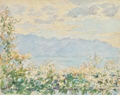 La Vue - Lac Geneva - 19th Century Watercolor, Mountain & Lake Landscape H Duhem