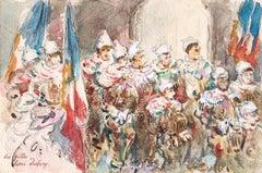 Les Gilles - 19th Century Watercolor, Figures at Carnival, Belgium by H Duhem