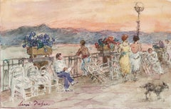 The Promenade, Juan les Pins - 19th Century Watercolor, Figures Landscape Duhem