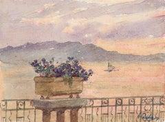 La Vue - Juan les Pins - 19th Century Watercolor, Flowers by Sea Landscape Duhem