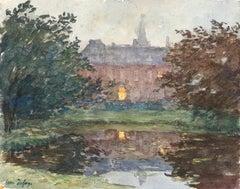 Maison au bord de l'étang - 19th Century Watercolor, Evening Landscape by Duhem
