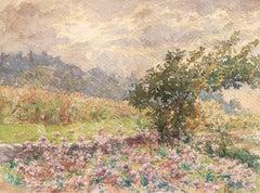 Fleurs en Paysage - 19th Century Watercolour, Flowers in Landscape by H Duhem