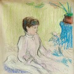 Jeune Fille avec des Fleurs - Woman Seated in Interior by Claude E Schuffenecker