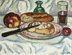Petit Déjeuner- 20th Century Oil, Still Life of Cheese & Bread by de Saint-Délis