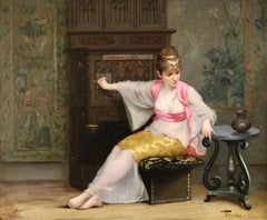 Orientalist Girl in Interior - 19th Century Oil, Elegant Woman by Luis Falero