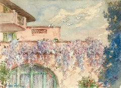 Wisteria - 19th Century Watercolor, Flowers on Cottage Landscape by Henri Duhem