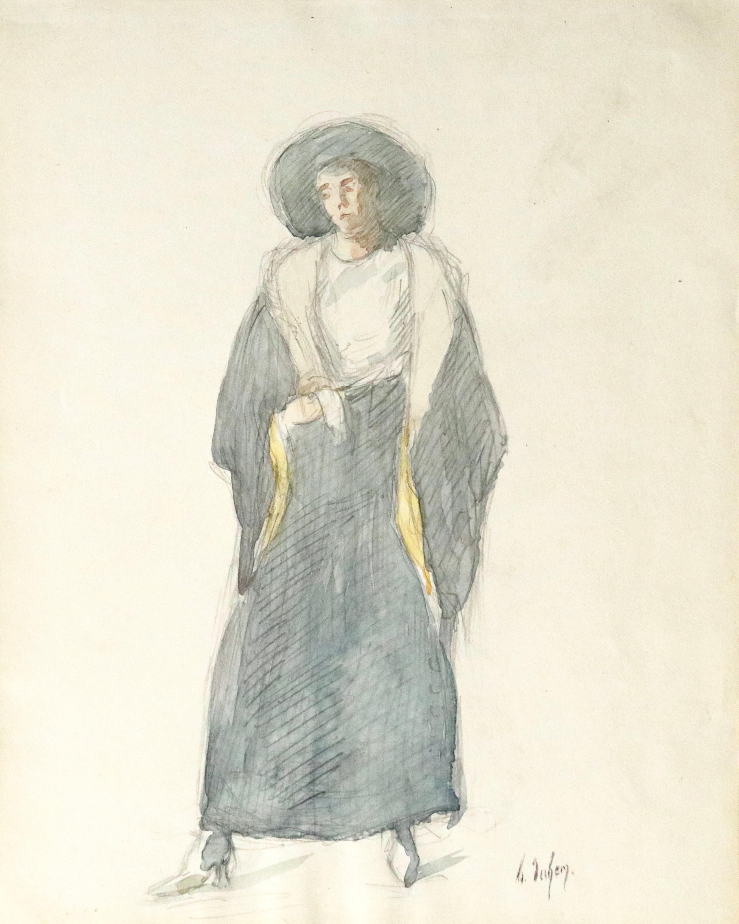 Portrait of Marie - 19th Century Watercolour, Full Length Portrait - Henri Duhem