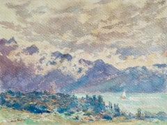 Sailing - Lac Neuchâtel - 19th Century Watercolor, Boat in Landscape by H Duhem