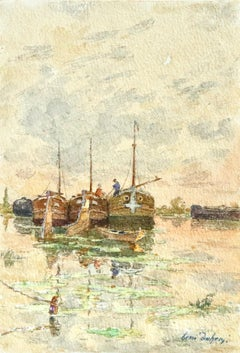 On the Barges - 19th Century Watercolor, Figures on Boats on River - Henri Duhem