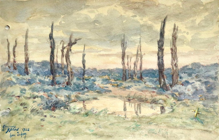 Watercolour on paper by Henri Duhem depicting Ypres - also known as Leper - in Belgium, which was the centre of the Battles of Ypres between Germany and Allied forces in World War I. Signed, titled and dated 1922 lower left. This painting is not