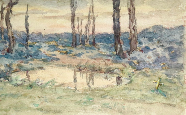 Environs d'Ypres - 19th Century Watercolor, World War I Landscape by Henri Duhem For Sale 1