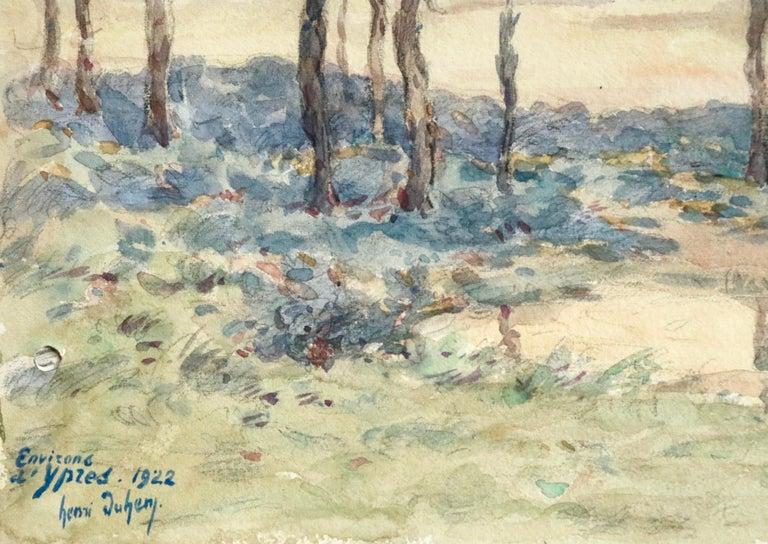 Environs d'Ypres - 19th Century Watercolor, World War I Landscape by Henri Duhem For Sale 2