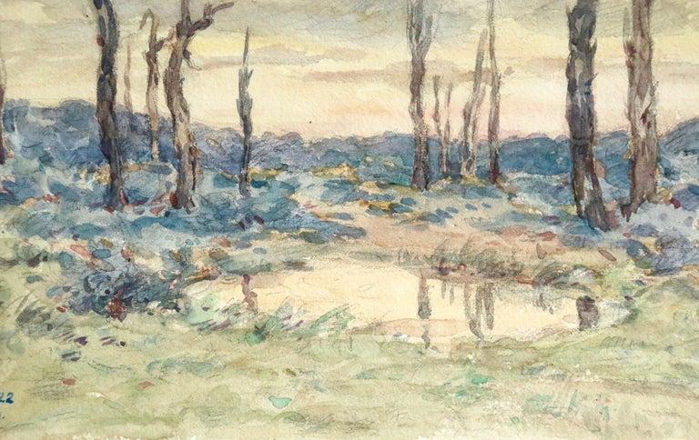 Environs d'Ypres - 19th Century Watercolor, World War I Landscape by Henri Duhem For Sale 3