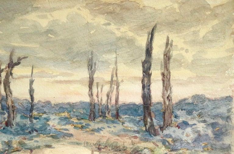Environs d'Ypres - 19th Century Watercolor, World War I Landscape by Henri Duhem For Sale 4