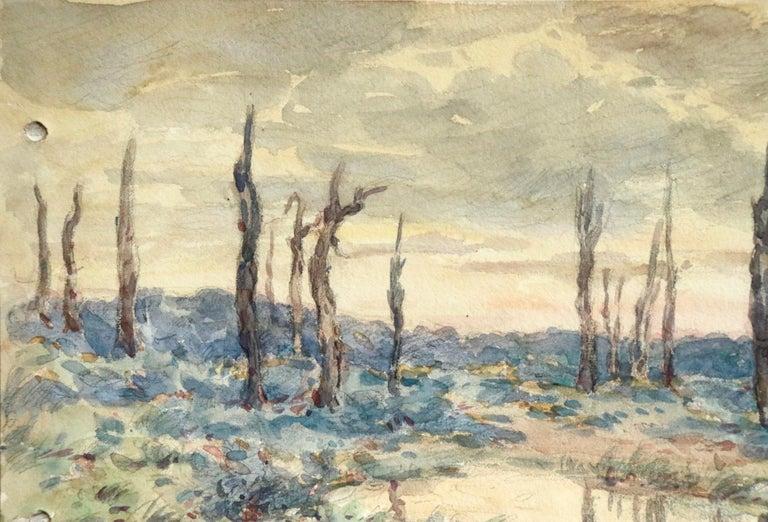 Environs d'Ypres - 19th Century Watercolor, World War I Landscape by Henri Duhem For Sale 5