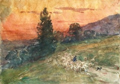 Droving Sheep at Sunset - 19th Century Watercolor, Flock in Landscape by H Duhem