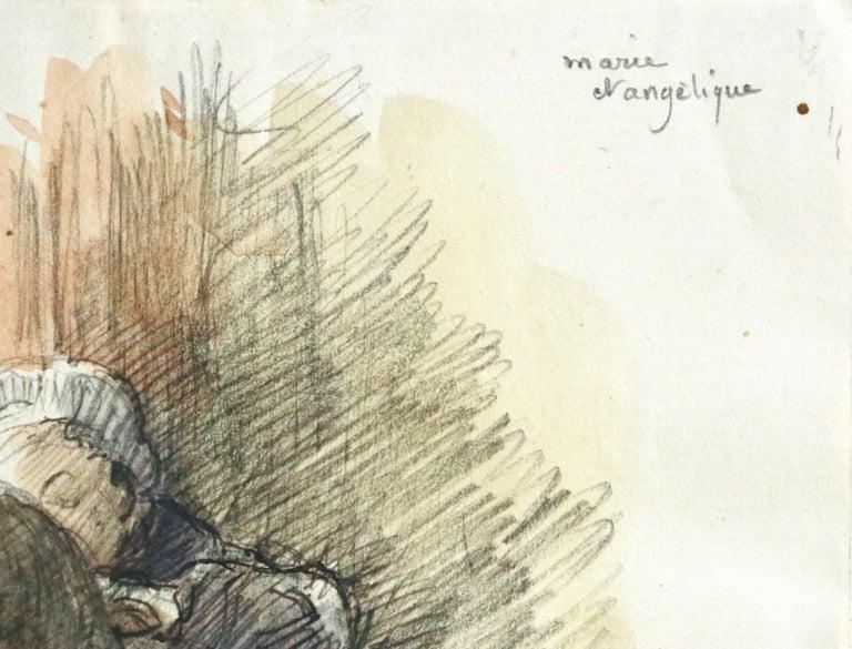 Marie et Angelique - 19th Century Watercolor, Figures in Interior by Henri Duhem For Sale 3