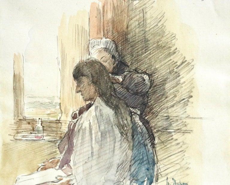 Marie et Angelique - 19th Century Watercolor, Figures in Interior by Henri Duhem For Sale 1