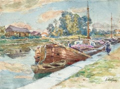 On the Canal - Douai - 19th Century Watercolour, Boats in Landscape by H Duhem
