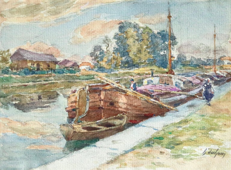 Henri Duhem Landscape Art - On the Canal - Douai - 19th Century Watercolor, Boats in Landscape by H Duhem