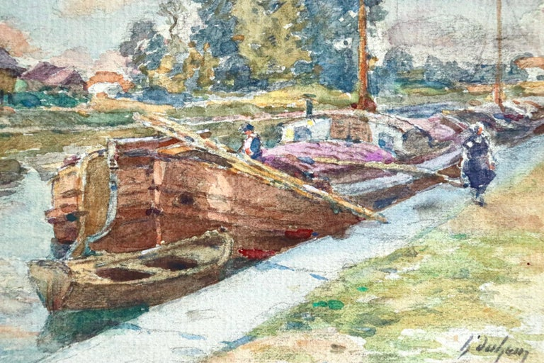 On the Canal - Douai - 19th Century Watercolor, Boats in Landscape by H Duhem - Art by Henri Duhem