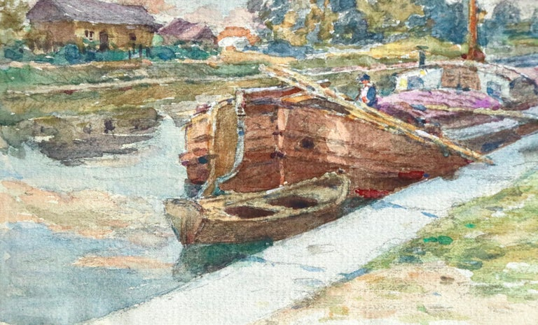 On the Canal - Douai - 19th Century Watercolor, Boats in Landscape by H Duhem For Sale 1
