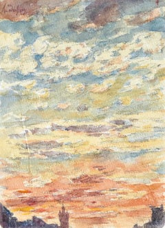 Coucher du Soleil - 19th Century Watercolor, Sunset Sky Landscape by Henri Duhem