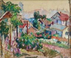 The Garden - 20th Century Oil, Cottages in Village Landscape by Abram Manevich