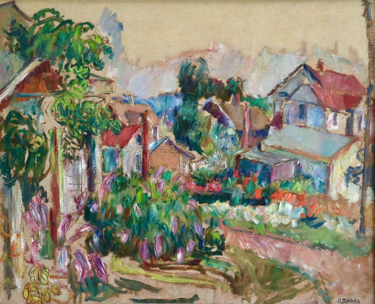 Oil on board circa 1910 by Russian painter Abram Anshelevich Manevich. The painting depicts bright flowers in cottage gardens in a village. Stamped with the cachet of the artist lower right. Framed dimensions are 26 inches high by 30 inches