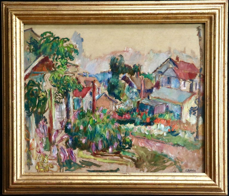 The Garden - 20th Century Oil, Cottages in Village Landscape by Abram Manevich For Sale 1