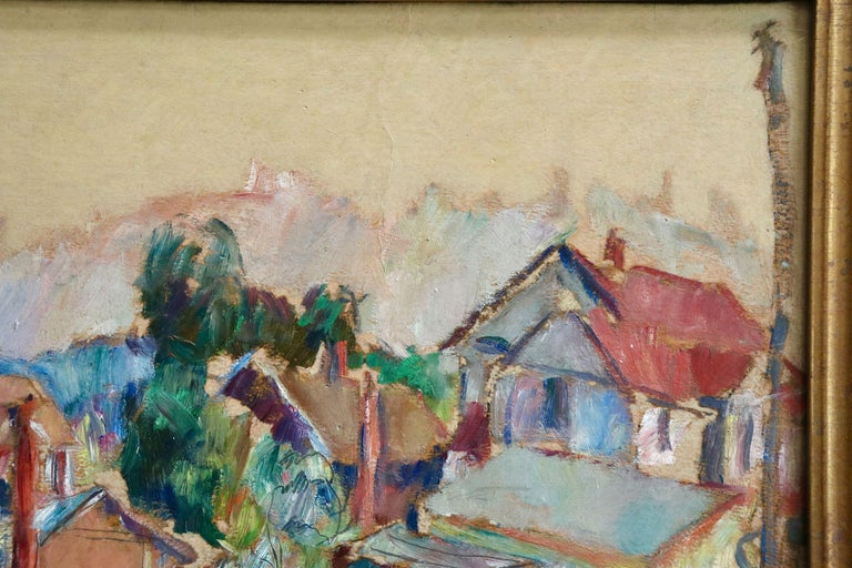 The Garden - 20th Century Oil, Cottages in Village Landscape by Abram Manevich For Sale 2