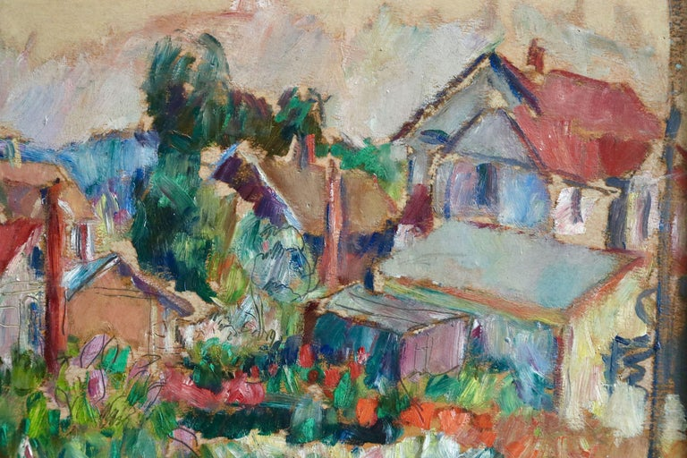 The Garden - 20th Century Oil, Cottages in Village Landscape by Abram Manevich For Sale 3