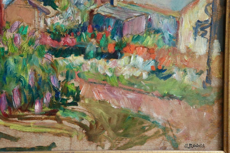 The Garden - 20th Century Oil, Cottages in Village Landscape by Abram Manevich For Sale 4