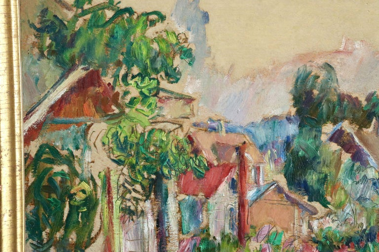 The Garden - 20th Century Oil, Cottages in Village Landscape by Abram Manevich For Sale 6
