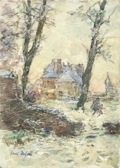 Hiver - 19th Century Watercolor, Cottage & Figures Winter Landscape by H Duhem