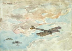 Dog Fight over Douai - 19th Century Watercolor, World War I Biplanes by H Duhem