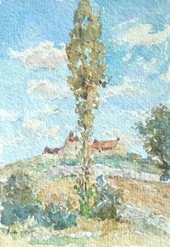Maison en paysage - 19th Century Watercolor, Cottage in Landscape by Henri Duhem