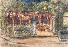 Le Café la Nuit - 19th Century Watercolor, Cafe at Night Landscape by H Duhem