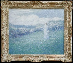 By the Coast - Normandy - 19th Century Oil, Woman in Landscape by F F Foottet