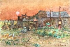 À la ferme - coucher de soleil - 19th Century Watercolor, Landscape by H Duhem