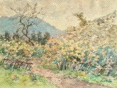 Fleurs d'automne - 19th Century Watercolor, Flowers in Autumn Landscape by Duhem