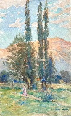 Coucher de Soleil sur la Montagne - 19th Century Watercolor, Landscape - H Duhem