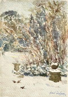 Oiseaux dans la neige - 19th Century Watercolor, Birds in Snowy Garden - H Duhem