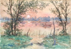 Rowing at Sunset - 19th Century Watercolor, Boat on River Landscape by H Duhem