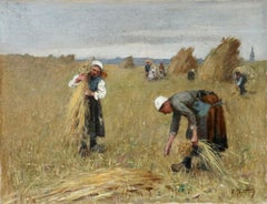 Harvesting - 19th Century Oil, Figures in Landscape by Rene Louis Chretien