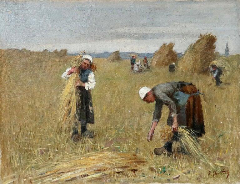 René Louis Chrétien Figurative Painting - Harvesting - 19th Century Oil, Figures in Landscape by Rene Louis Chretien