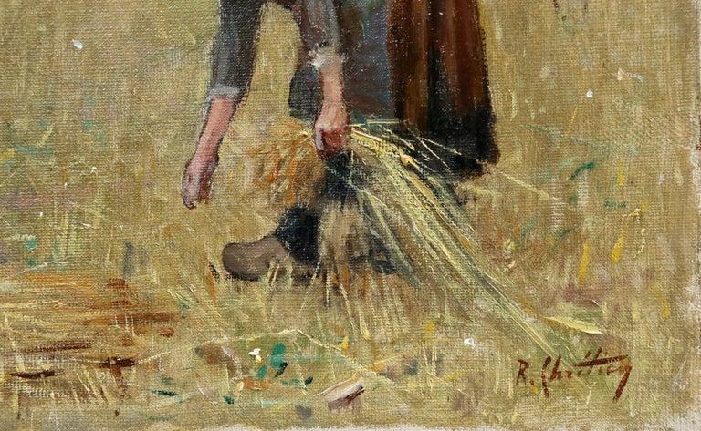 Harvesting - 19th Century Oil, Figures in Landscape by Rene Louis Chretien - Painting by René Louis Chrétien