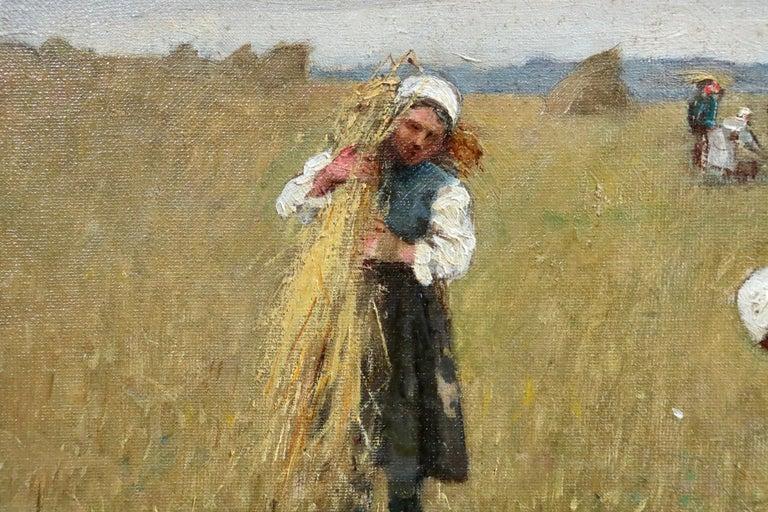 Harvesting - 19th Century Oil, Figures in Landscape by Rene Louis Chretien - Impressionist Painting by René Louis Chrétien