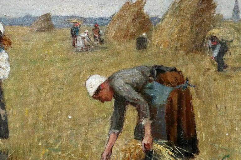 Harvesting - 19th Century Oil, Figures in Landscape by Rene Louis Chretien - Brown Figurative Painting by René Louis Chrétien