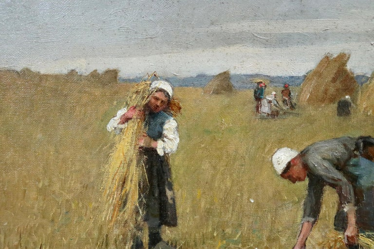 A turn of the century oil on canvas by Rene Louis Chretien depicting men and women harvesting the crop in late summer. Signed lower right. This painting is not currently framed but a suitable frame can be sourced if required.  Provenance: Private